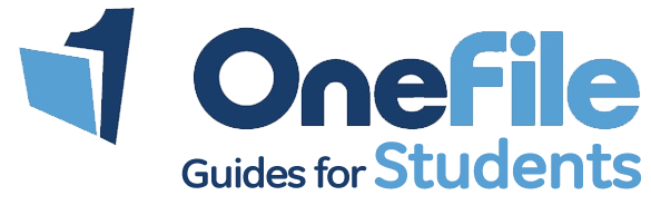 OneFile guides for students in blue text