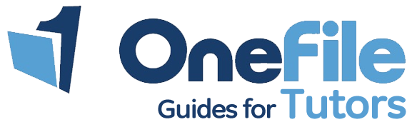 OneFile guides for tutors in blue text